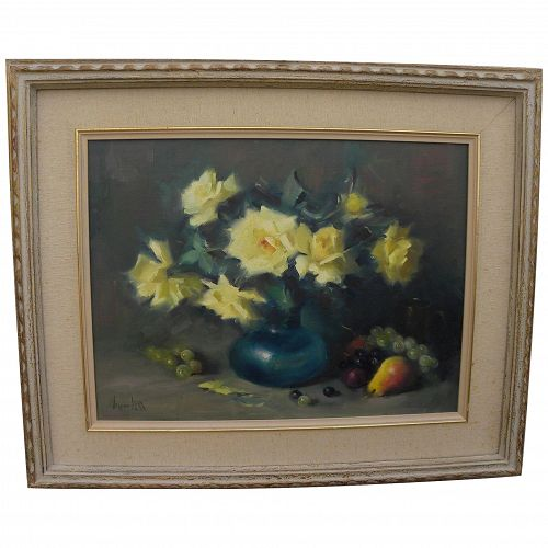 VERNON KERR (1938-1982) impressionist still life painting of roses by the noted California artist