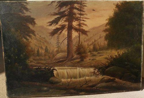 JESSE B. RADWAY (1826-c.1905) scarce listed early California and Kansas painter Colorado mountain painting