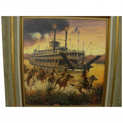 GUY DEEL (1933-2005) fine contemporary western American art painting steamboat and hostile Indians in landscape
