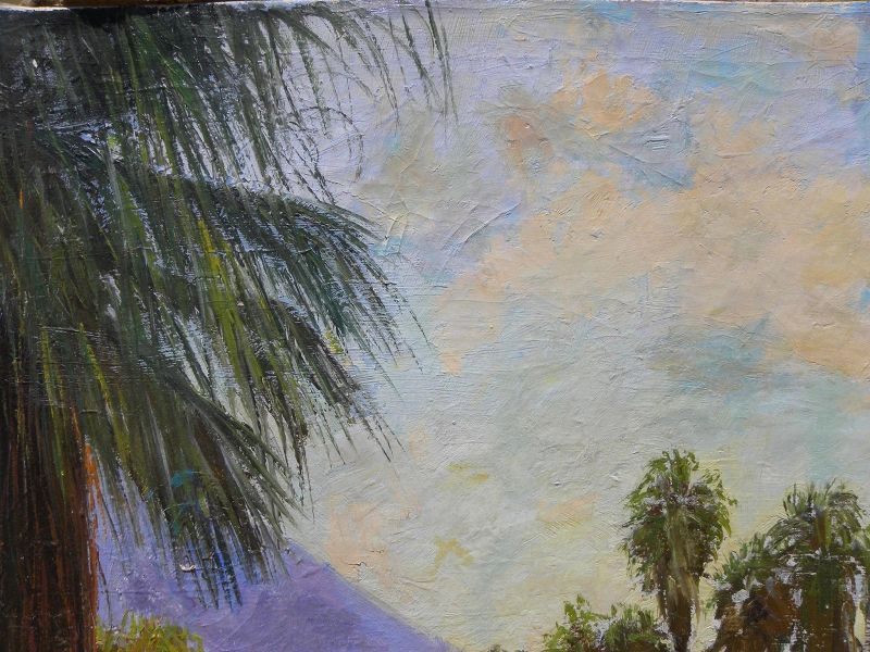JAMES MERRIAM (1880-1951) California plein air art large oil painting of desert canyon wash