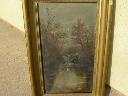 American antique Hudson River style landcape painting