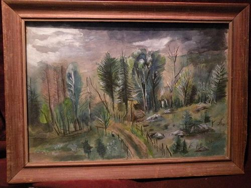 RICHARD HUELSENBECK (1892-1974) modern watercolor landscape painting dated 1942 by one of the founders of early 20th century Dada movement