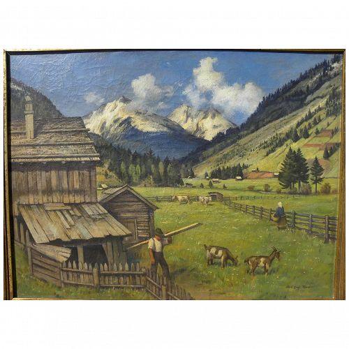 KARL-ERICH SCHAFER (1905-1982) Alpine landscape painting by German artist