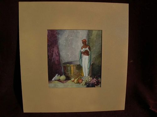 FREDERIC GRANT (1886-1959) watercolor classic still life painting by noted Chicago artist