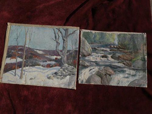 Vintage Connecticut impressionist art PAIR 1927 paintings by artist Allen Newton