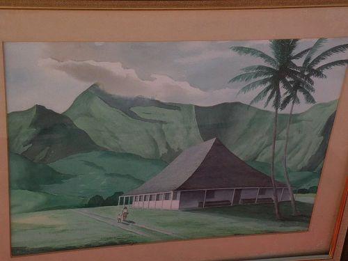 Hawaiian art mid century signed large watercolor landscape painting of historical Kauai mission