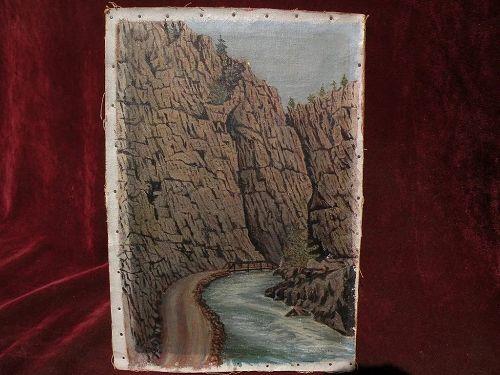 Vintage Colorado art 1925 painting of mountain canyon near Estes Park signed F W Shane