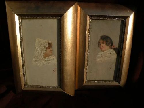 Spanish 19th century **PAIR**paintings signed MORA oil studies of two ladies