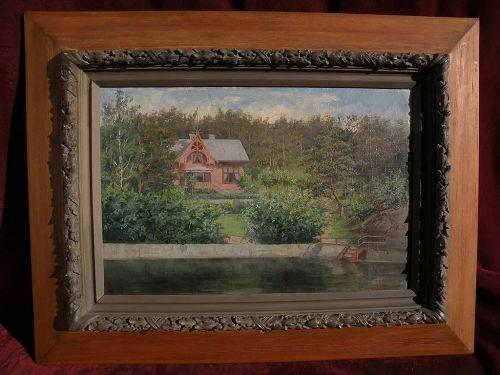 Scandinavian art antique Swedish painting of quaint lakeside house by ALMA HOLSTEINSON (1859-1934)