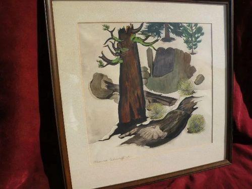 Modernist California art 1951 watercolor forest scene painting