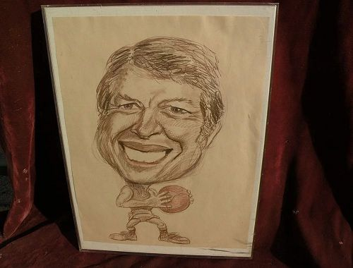 JIMMY CARTER political cartoon original drawing signed Jon Pearson