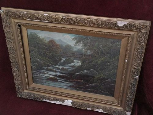 E. MASTERS English art Wales forest stream landscape oil painting