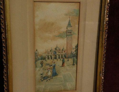 Italian art Venice watercolor Grand Tour painting circa 1890's