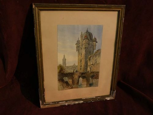 European watercolor painting town scene circa 1840 probably French