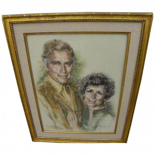 Charlton Heston memorabilia original 1980 pastel portrait by listed African-American artist ARTIS LANE (1927-)