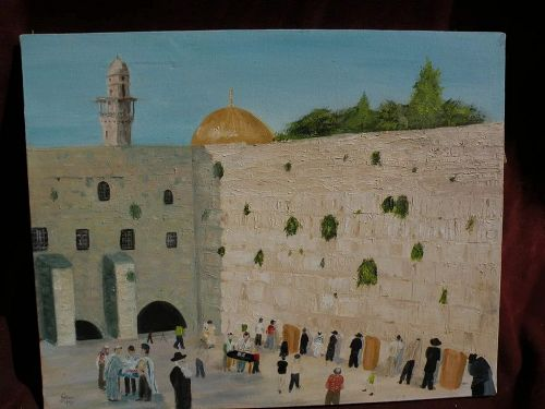 Jewish art folky original oil painting of figures at the Wailing Wall in Jerusalem