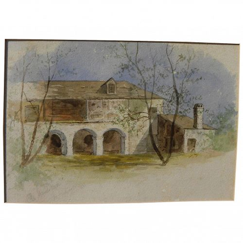 """St. Augustine Florida 1881 watercolor painting """"Old Spanish House"""""""