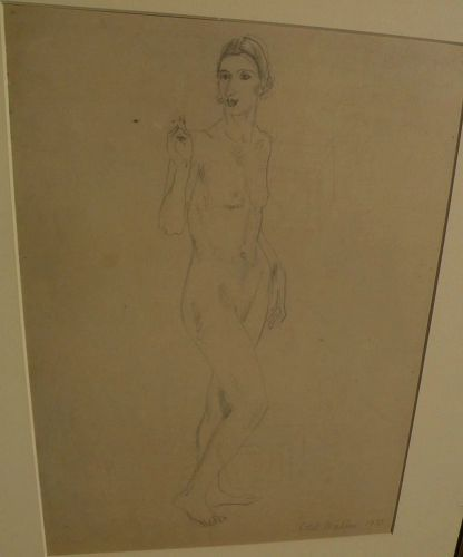 DAME ETHEL WALKER (1861-1951) modern English art pencil drawing of standing female nude dated 1933