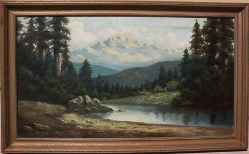 RICHARD DETREVILLE (1864-1929) large landscape oil painting by Northern California artist