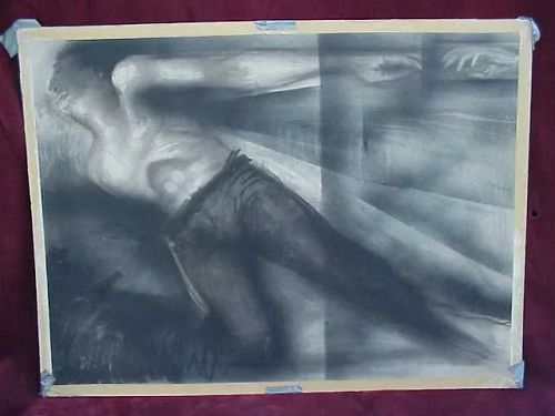 """Modern large figural drawing in charcoal signed """"McBride"""""""