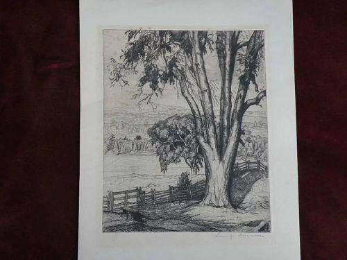 LUIGI LUCIONI (1900-1988) important American printmaker pencil signed etching print