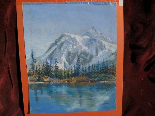 Pastel landscape drawing of Mount Baker, Washington signed with initials