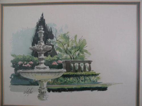 JAKE LEE (1915-1991) California Scene school watercolor art painting of a fountain