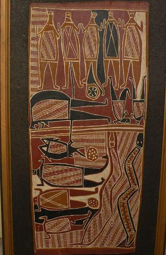 ENGLAND BANGALA (1925-2001) Australian aboriginal art eucalyptus bark painting