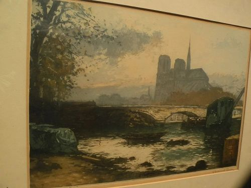 MANUEL ROBBE (1872-1936) important French printmaker rare and desirable Paris color etching Notre Dame Cathedral
