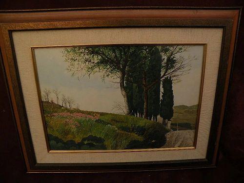 Italian watercolor extensive landscape painting signed F. PRATESI
