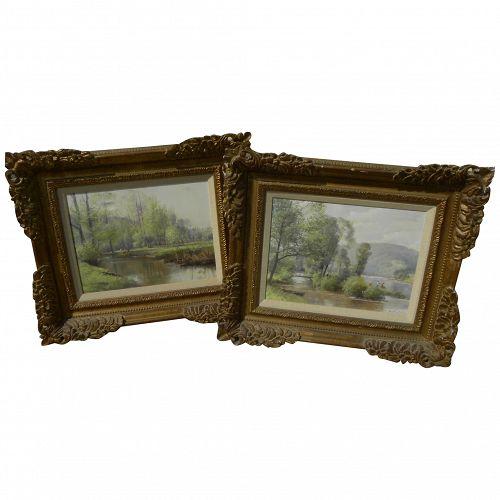 JOSEF PROCHAZKA (1909-1984) **pair** impressionist spring landscapes by well listed Czech artist