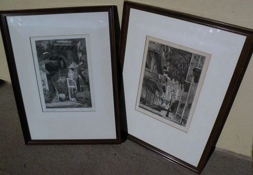 EUGENE F. LOVING (1908-1971) New Orleans Louisiana art **PAIR** original pencil signed etchings of French Quarter