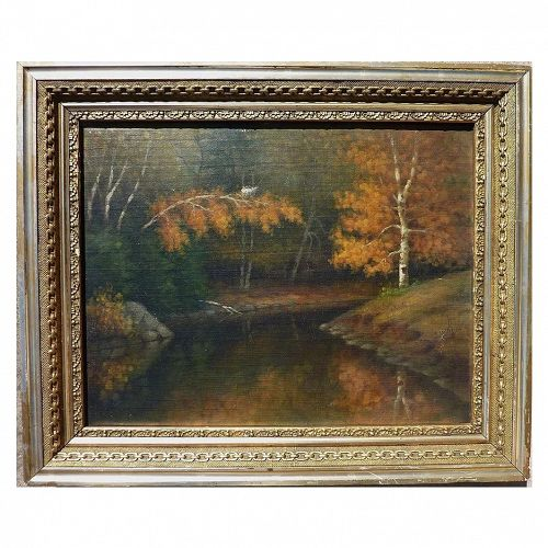 """PERCY A. SANBORN (1849-1929) impressionist oil painting """"Bend in Little River"""" by one of Maine's best known artists"""