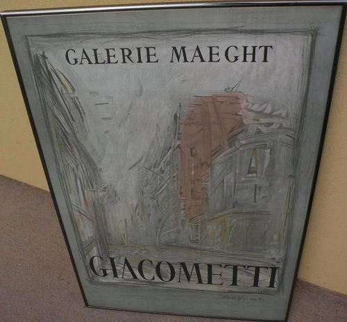 ALBERTO GIACOMETTI (1901-1966) original lithograph poster for 1954 Galerie Maeght exhibition
