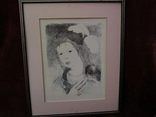 """MARIE LAURENCIN (1885-1956) French 20th century art original lithograph """"Boubou"""" 1931"""