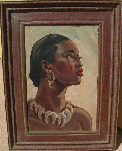 "EINAR C. PETERSEN (1885-1986) California art elegant portrait painting of African woman ""Black Ivory"""