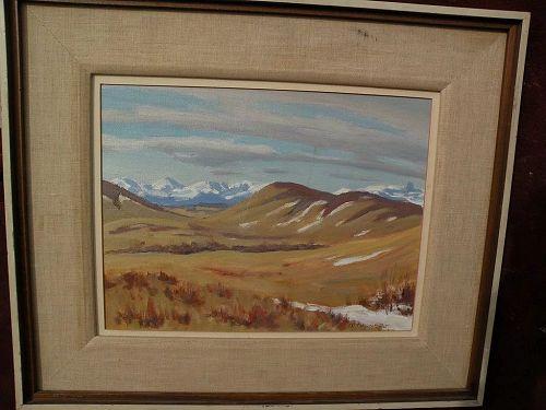 JOHN DAVENALL TURNER (1900-1980) listed Canadian art landscape painting near Cochrane, Alberta
