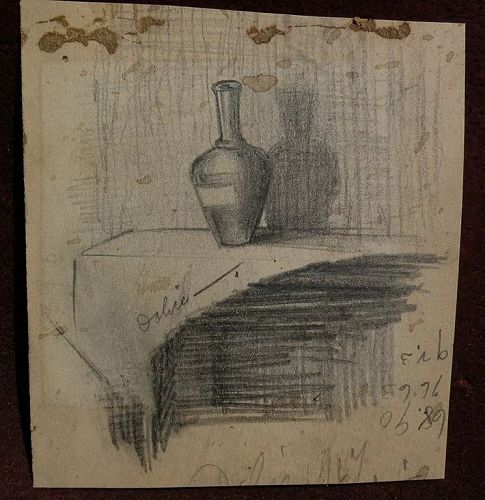 LEON DOLICE (1892-1960) original pencil sketch still life drawing double sided