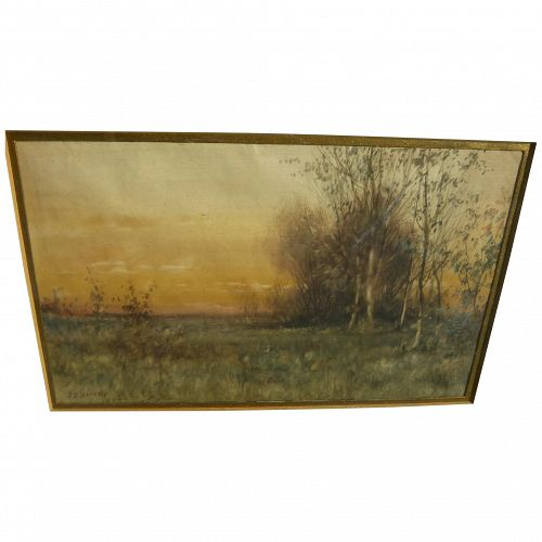 JOHN ELWOOD BUNDY (1853-1933) early watercolor landscape painting by noted Indiana artist