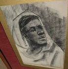 Large charcoal drawing signed W. NASH