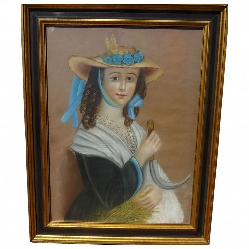 American folk art mid 19th century pastel drawing of a young lady