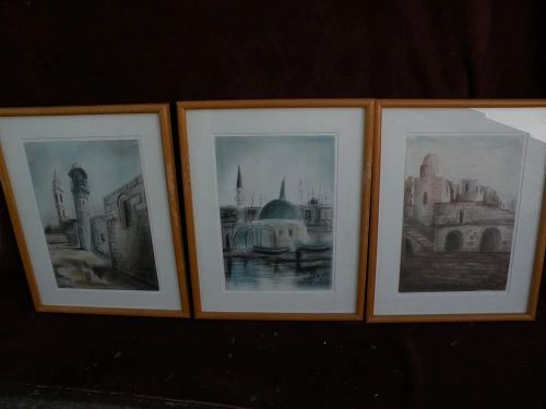 Israeli art SET OF THREE signed dated original pastel drawings of Holy Land buildings