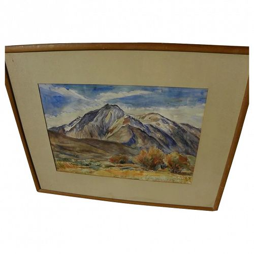 EINAR HANSEN (1884-1965) watercolor painting of high mountain peak by listed California artist