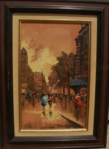 Retro painting of Paris street scene circa 1970�