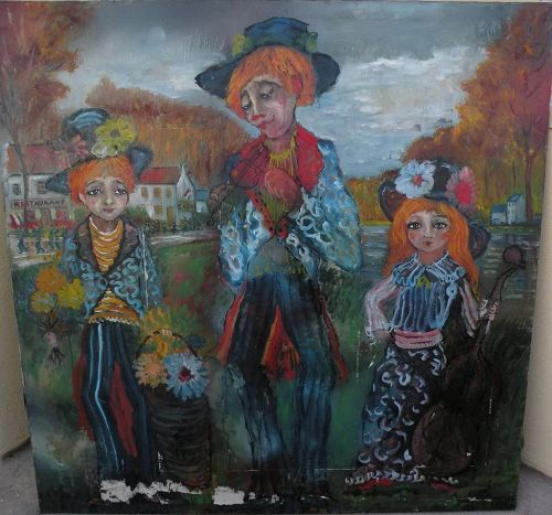 ROGER ETIENNE (1922-2011) very large mid century whimsical painting of clown-like musician family
