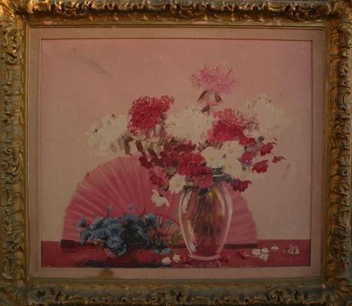 JOSEPH LANE (1900-) American art large still life painting by listed Illinois artist