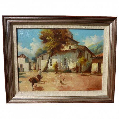 JULIO BEREGSZASZY (20th century Eastern European) impressionist painting of rural scene possibly in Venezuela