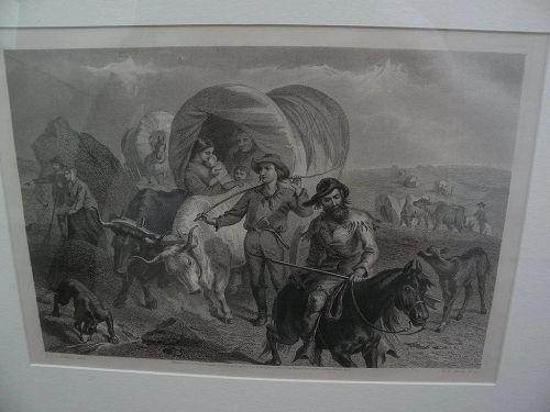 "F.O.C. DARLEY (1822-1888) original 19th century American etching ""Emigrants on the Plains"""