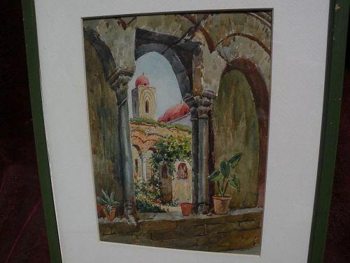 Watercolor painting of Mediterranean church