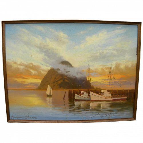 MARJORIE SHARPE (20th century California) plein air luminous painting of sunset over Morro Bay in Central California